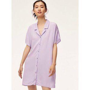 Aritzia Wilfred Free Radhika Large Slate Lavender Purple Crepe Mini Shirt Dress